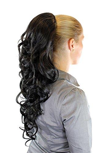 WIG ME UP ® - WK03-2 Haarteil/Zopf voluminös Locken lockig sehr lang (60 cm) + Steckkämme & Gummizug Schwarz