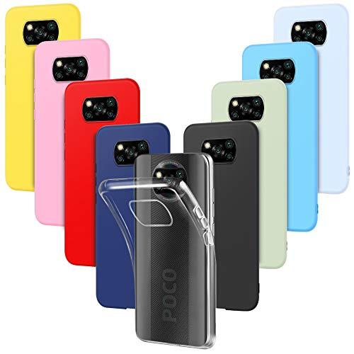 9X Funda para Xiaomi Poco X3 Pro Carcasa Suave Silicona, E-Lush Caso Ultra Delgado Soft Gel TPU Goma Case Cover, Negro, Azul Oscuro, Rojo, Azul Cielo, Rosa, Amarillo, Púrpura, Verde, Transparente