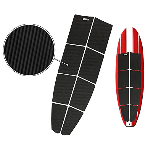 BPS 8-Piece SUP Longboard EVA 'Anti-Slip' Grip Pads with 3M adhesives - Traction Pads for SUP Deck (Charcoal Black)