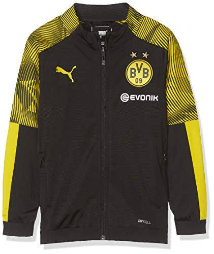 PUMA Kinder BVB Poly Jacket Jr with Evonik Logo Trainingsjacke, Black/Cyber Yellow, 128
