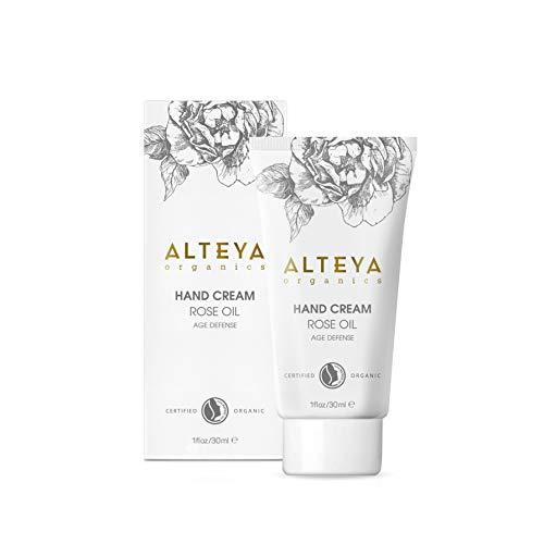 Alteya Organic Crème pour les mains Organique Anti-âge 30ml - NaTrue Certifié Organique Soin pour les Mains basé sur l'huile essentiel de Rose (Rose Otto), noruissant, hydratant et réparateur