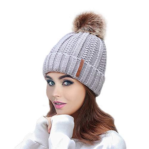 QU.SBEARY Women Winter Pom Pom Beanie Hats Warm Fleece Lined Skull Cap Cuff, Chunky Trendy Cute Chenille Knit Twist Cap Winter Soft Warm Ski Cap (Light Grey)