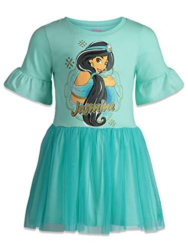 Disney Vestido de manga corta para nia con falda de tul - azul - 6-6X