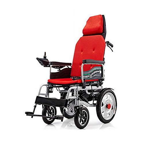 Volledig liggende, lichte opklapbare elektrische rolstoel voor oude, automatische vierwielige scooter (lithium batterij met grote capaciteit), duurzaam, veilig en eenvoudig in het vliegtuig. rood