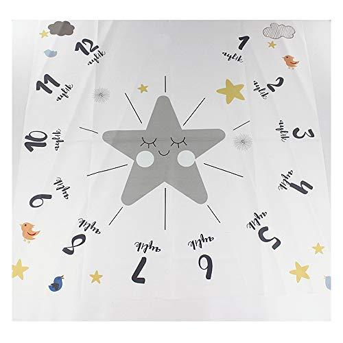 NROCF Couverture Star Milestone Baby Cloud, Polyester Blanc, Jalon De Décembre, Accessoires De Photographie pour Enfants