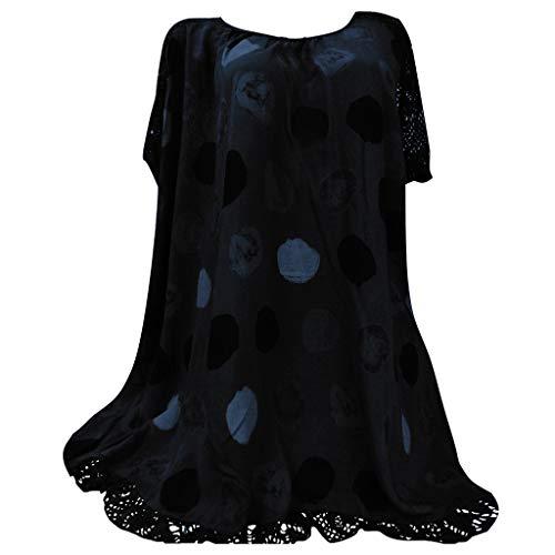 YEBIRAL Mujeres Casual Tallas Grandes Camiseta Camisa Encaje Manga Corta Blusas Lunares Suelto Túnica Tops T-Shirt con Encaje Dobladillo(5XL,Negro)