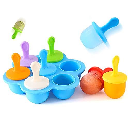 Premium Popsicle Formen wiederverwendbar Eis Pop Formen für Kinder Eisbecher Halter Lolly Pops 7 Löcher Baby Food Grade Supplement Box blau