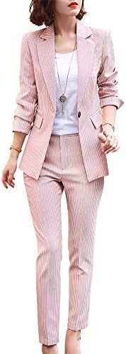 Women s Two Piece Plaid Open Front Long Sleeve Blazer and Elastic Waist Pant Set Suit Pink 6095k product image