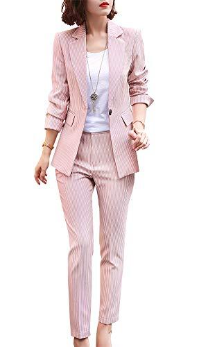 Womens Business Work Suit Set Blazer Pants for Office Lady Suit Set Slim Fit Blazer Pant