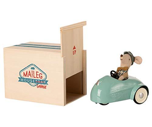 Maileg Maus in Auto mit Garage blau