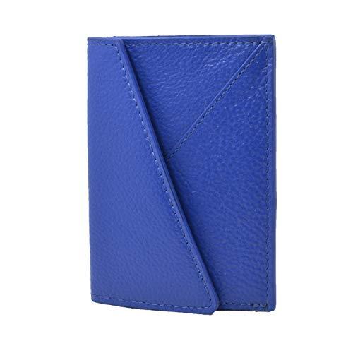 GRESEL, tarjetero de tarjetas de visita de real cuero, delgado, 2 soportes de tarjetas de crédito, 2 soportes de tarjetas, con caja de regalo Azul Eléctrico -