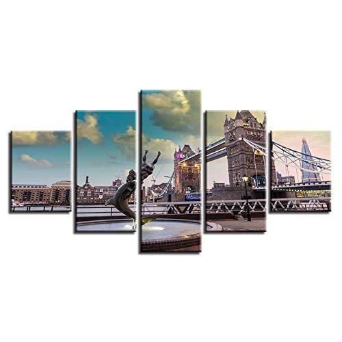 Decoratieve poster print kunst modern 5 stuks London Bridge City Landschap Canvas foto modulaire schilderijen woonkamer wand (geen lijst) 40x60 40x80 40x100cm