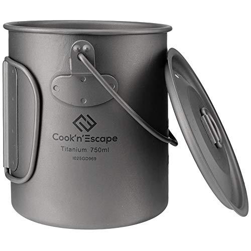 COOK'N'ESCAPEチタン クッカー セットポット キャンプバーベキュー吊り鍋 アウトドア マグカップ ハンドル 吊り下げ式 蓋付き