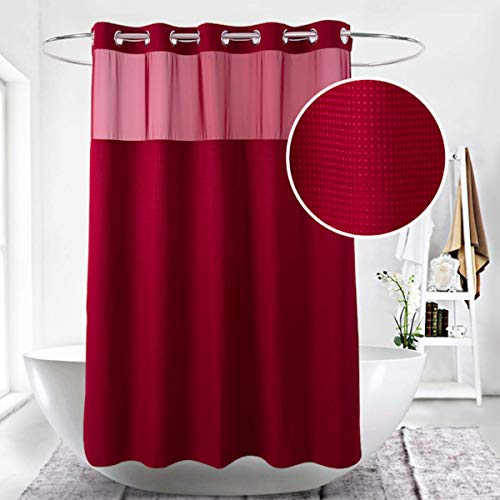 Ecoehoe Extra Long Waffle Weave Fabric Shower Curtain No Hooks Burgundy with Removable Polyeser Material Liner–Waterproof–Red 71x79