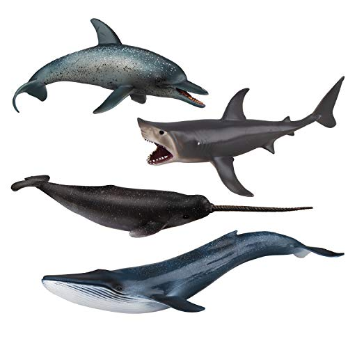 TOYMANY 4PCS 8-10' L Realistic Large Shark & Whale Figurines Bath Toys, Plastic Play Ocean Sea Animals Figures Set Includes Dolphin,Great White Shark,Blue Whale, Educational Birthday Gift for Kids