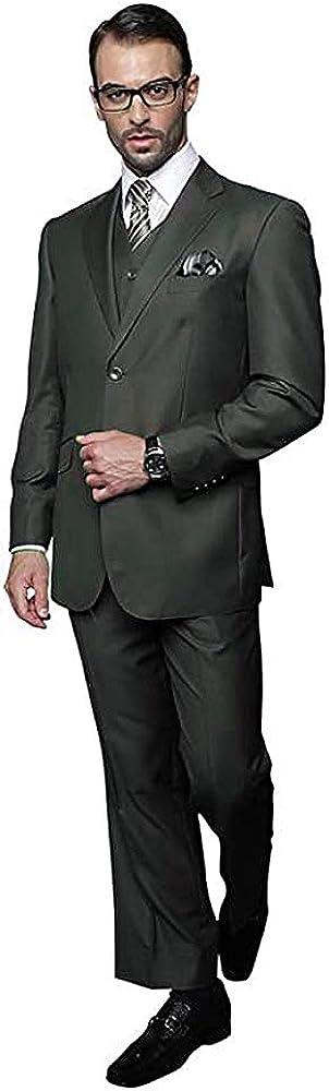 Statement 3 PC Men's Suit TZ-100 Italian Solid Color Super 150'S Wool Olive