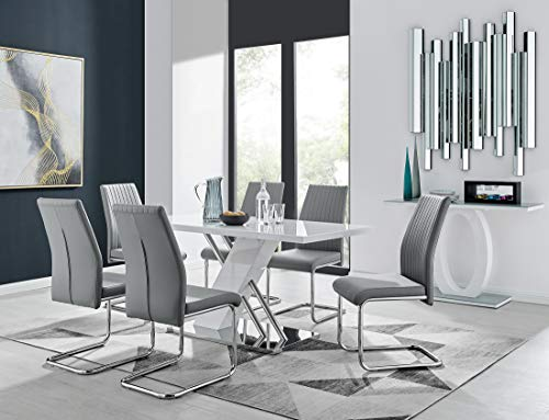 Sorrento 6 Modern White High Gloss Stainless Steel Metal Dining Table And 6 Stylish Lorenzo Dining Chairs Seats Set (Dining Table + 6 Elephant Grey Lorenzo Chairs)