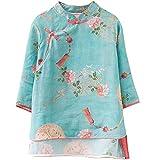 SADWQ China Vintage Blusa de Las Mujeres Estampado Tradicional Hanfu Tops Verano Elegante Camisa Femenina Suelta(Verde,XL)