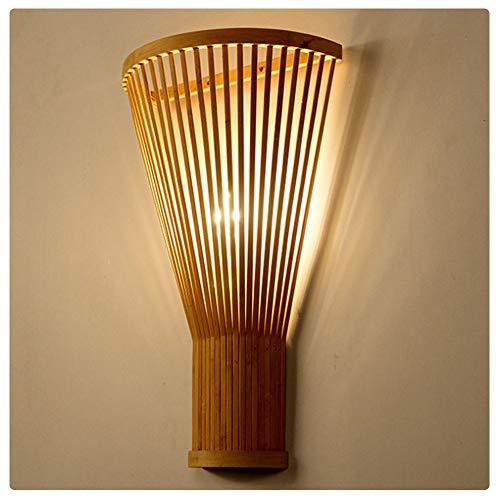 RHSMP Handgemaakte Weven Bamboe Wandlamp Sconce - Nieuwe Chinese Stijl Slaapkamer Bed Hoofd Licht Fixture Boerderij Theehuis Hotel Trappen Corridor Aisle Lights E27 (Zonder Lichtbron)