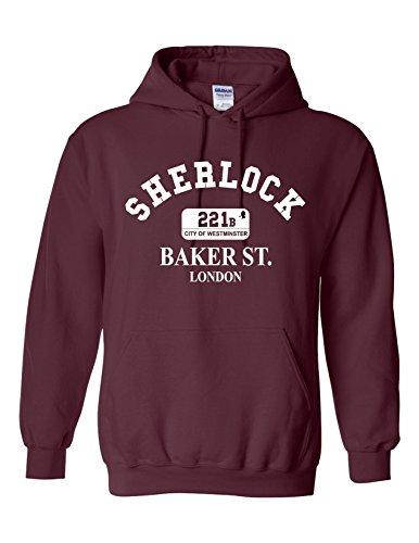 Gildan or Good Brand Snapit Today Kapuzen-Sweatshirt, inspiriert von Sherlock Holmes 221b Baker St London Gr. Small, burgunderfarben