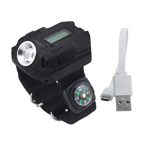 Gazelle Trading Super Bright Cree LED Wrist Watch Flashlight Torch Rechargeable Waterproof Wrist Light Watch with Compass for Running Mountain Climbing Camping Survival Hiking Hunting Patrol