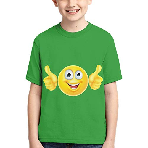 Moving Thank You Emoji Round Neck Short Sleeve T-Shirts, Fashion Print Tops for Boys and Girls Black