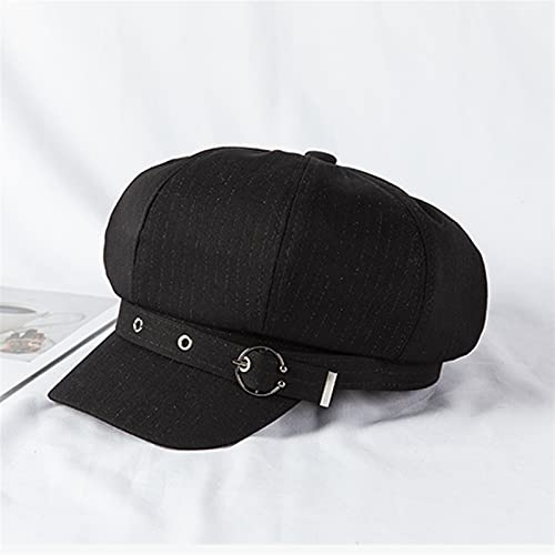 YISLWHUO Berets Women Summer Thin Newsboy Cap Painter Adjustable Rope Beret (Color : Black, Hat Size : One Size)