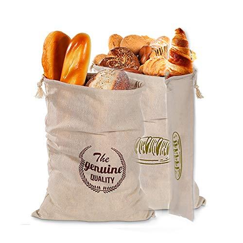 Lilon Brotbeutel aus Leinen, ideal für selbstgemachtes Brot, ungebleicht, wiederverwendbare Lebensmittelaufbewahrung, Einweihungseinweihung, Hochzeitsgeschenk, Brotaufbewahrung
