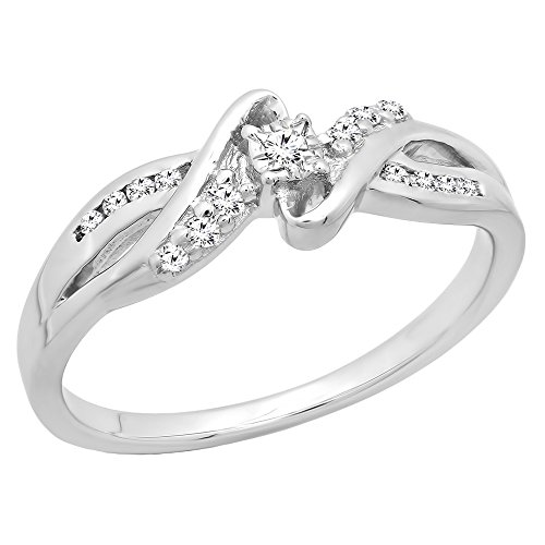 Dazzlingrock Collection 0.15 Carat (ctw) Round White Diamond Crossover Swirl Bypass Ladies Promise Ring, Sterling Silver, Size 7