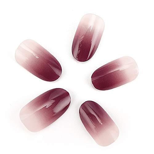 24 stücke 12 Verschiedene Größen Ellipse Künstliche Falsche Nägel Glatte Lila und Nude Graduierte Farbe