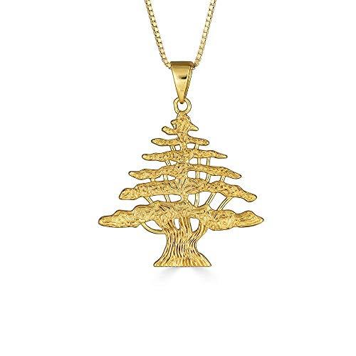 Kleine Schätze Sterling Silber Gelbes Gold überzogen Libanesischer Zedernbaum Anhänger Halskette (Verfügbare Kettenlänge 40cm - 45cm - 50cm - 55cm)