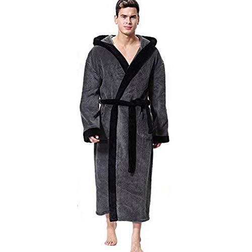 Badjas met capuchon voor heren in 2 gekleurde, zachte spa-kimono met sjaalkraag en lange badjas met capuchon Unisex