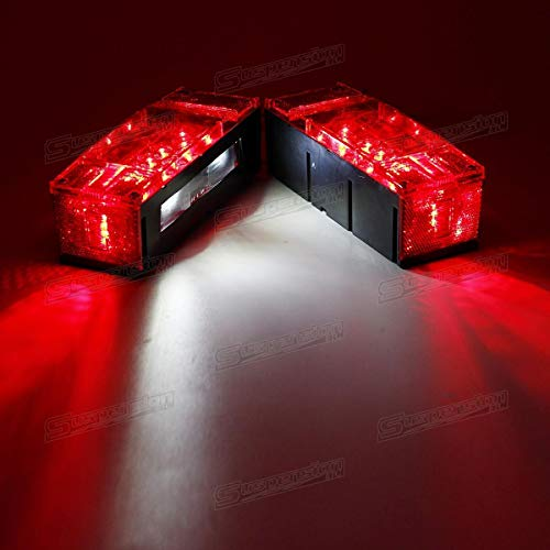Left+Right LED Boat Trailer Light Waterproof Red Trailer Boat Rectangle Rectangular Low Profile Stop Turn Submersible Light kit