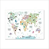 CROSYO 1 stück Kindergarten Weltkarte Poster Drucke Pastell Kinderzimmer Dekor Safari Tier Theme Weltkarte Wandkunst Leinwand Malerei Kinderzimmer Dekoration