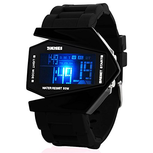 SKMEI Jugend wasserdichte LED-Flugzeug-Art-Digital Sport Gummi Uhr, schwarz