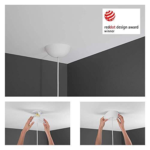 CableCup Deckenbaldachin: Einzigartiger Baldachin mit integrierter Zugentlastung, preisgekrönt, patentiert, weich und elastisch mit perfekter Passform an der Decke, Passt zu allen Pendelanhängern,weiß