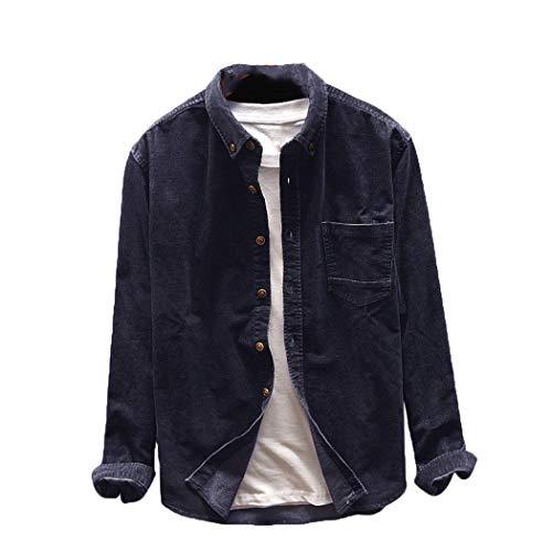 Hombres Camisas Primavera otoño Moda Japon Estilo Slim fit Vintage Corduroy Camisa Casual Suelta Camisa de Manga Larga Camisetas Dark Blue S