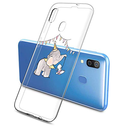 Oihxse Compatible pour Silicone Samsung Galaxy S7 Edge/G9350 Coque Crystal Transparente TPU Ultra Fine Souple Housse avec Motif [Elephant Lapin] Anti-Rayures Protection Etui (A8)
