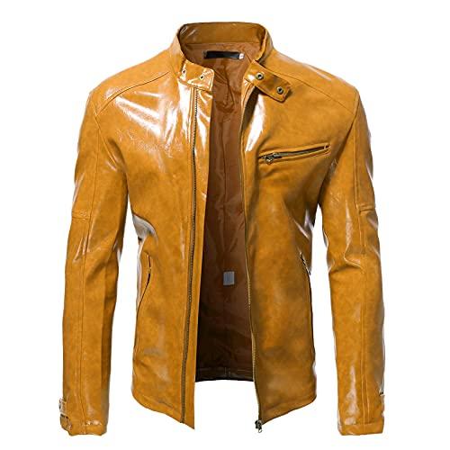 Giacca da uomo moda sottile in pelle con colletto alla coreana tasca con cerniera cappotto ( XXL,giallo )