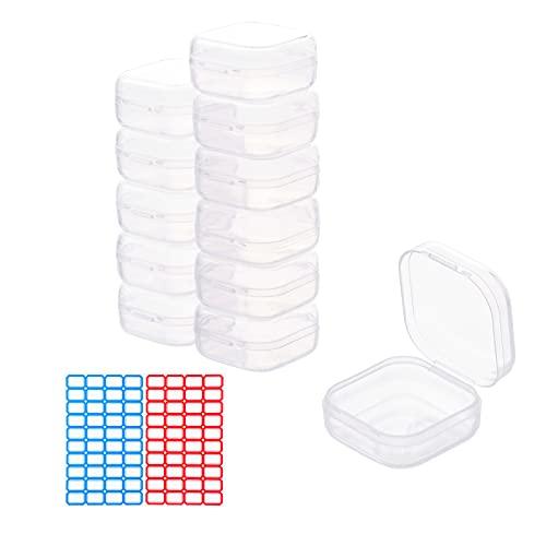 12 unidades de 3,5 cm x 3,5 cm x 1,8 cm, contenedor de almacenamiento con tapa, organizador para escritorio, cajón, oficina, cocina, hogar, contenedores para el sistema de organización, plásti