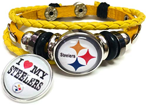 NFL Pittsburgh Steelers Bracelet Love & Circle Logo NFL Football Fan Yellow Leather W/2 18MM - 20MM Snap Charms