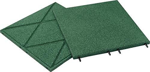 Qualitäts Fallschutzmatte 500x500x30mm in Grün aus Gummi-Recyclinggranulat inkl. Steckverbinder