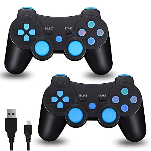 2pcs Pack PS3 Wireless Controller, TPFOON DualShock 3 Sixaxis Gamepad Remote for Sony Playstation 3, Including Charging Cable and 4 Thumb Caps