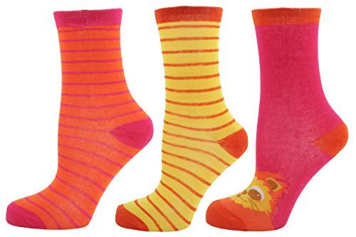 RJM Damen Socken-Set (1 Paar mit Tier-Motiv, 2 Paar gestreift), 3er-Pack, Gr. 37-40,5, Sets in verschiedenen Designs (Katze, H& oder Löwe) erhältlich