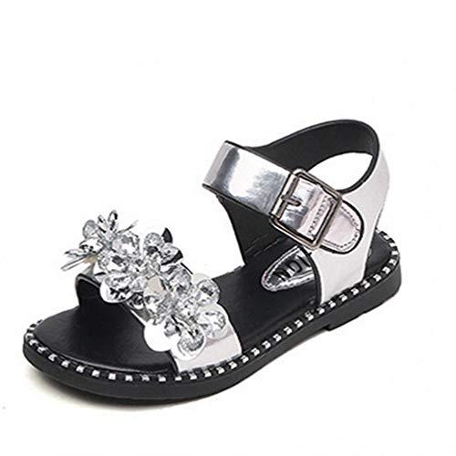 Chica Rhinestone Correa del Dedo del pie Abierto Sandalias Antideslizantes Verano al Aire Libre Suela Suave Plana Princesa Zapatos