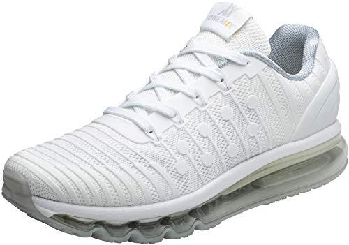 ONEMIX Laufschuhe Herren Fitness straßenlaufschuhe Sportschuhe Sneaker Luftkissenschuhe Joggingschuhe Freizeitschuhe für Männer 1319 Weiß 46