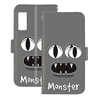 FFANY Galaxy A32 5G SCG08 用 手帳型 ミラータイプ すまほケース [モンスター・グレー] パロディ キャラクター SAMSUNG サムスン ギャラクシー エーサーティーツー ファイブジー au スタンド スマホカバー 携帯カバー monster 00u_152@02m