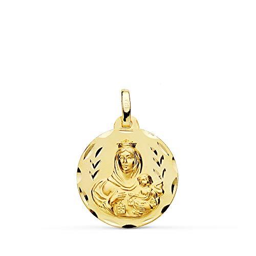 Medalla Escapulario V. Carmen y C. Jesús Oro 18 Kilates Tallado 18mm
