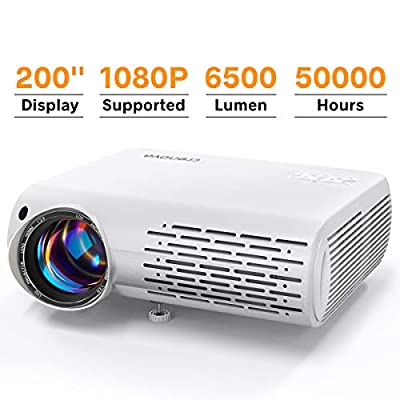 Video Projector 1080P Supported, Crenova Mini Projector 6500 Lux Home Movie Projector, 200'' Display Projector, 50,000Hrs LED Life Work with Phone, PC, Mac, TV Stick, PS4, HDMI, USB for Home Theater