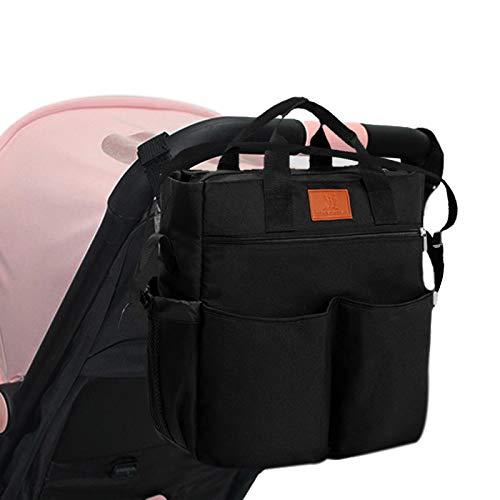 Miracle Baby Bolsa de Paseo de Bebé para Mamá .bolsa para cochecito Portátil Bolso Cambiador para Carrito bebe Gran capacidad-33 * 36 * 13cm(Negro puro)